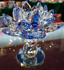 Pedestal Medium Blue Crystal Lotus with 40mm Crystal Ball