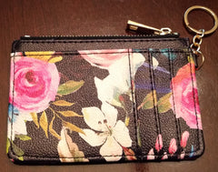 Keychain Wallet - Floral on Black