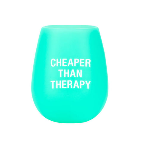 Cheaper Than Therapy - Silicone Wine Glass