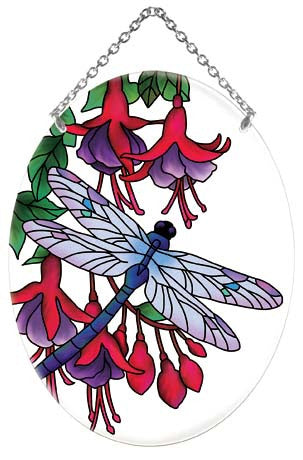 Dragonfly & Fuschias Suncatcher - Joan Baker Designs - Jules Enchanting Gifts