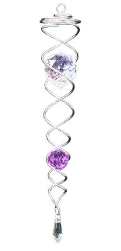Twister - Small Silver with Purple Crystal