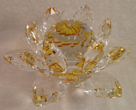 Extra-Large Golden Crystal Lotus with 60mm Crystal Ball