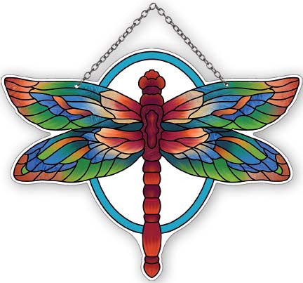 Water-Cut Green & Sienna Dragonfly Suncatcher - Joan Baker Designs - Jules Enchanting Gifts