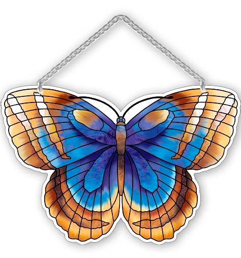 Water-Cut Blue & Sienna Butterfly Suncatcher - Joan Baker Designs - Jules Enchanting Gifts