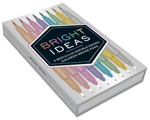 Bright Ideas Metallic Double-Ended Brush Pens - 8 Colored Pens