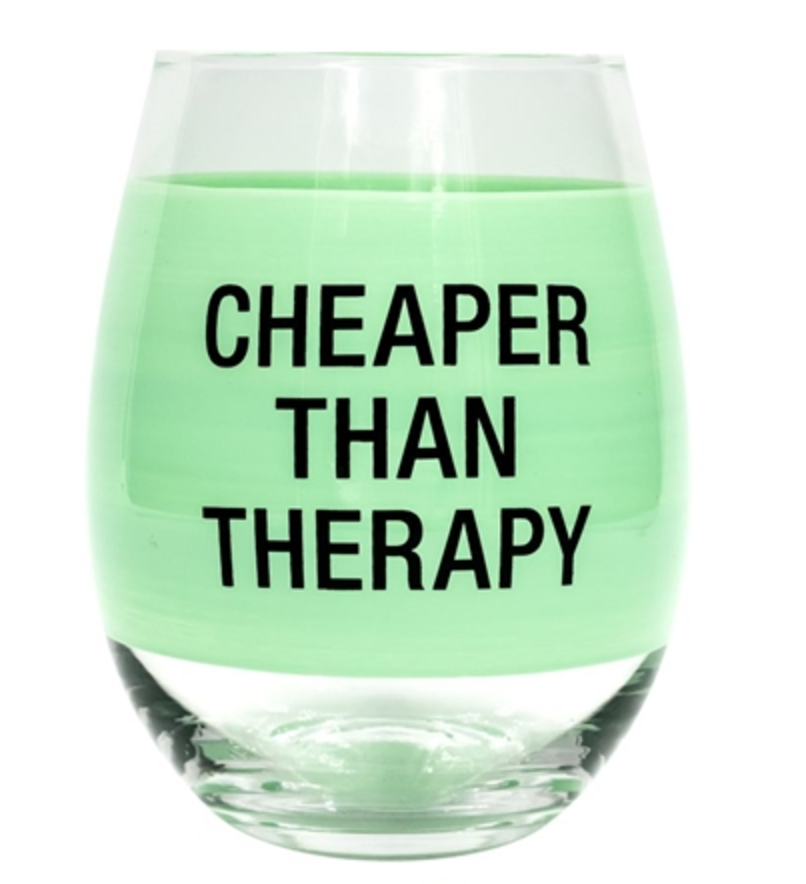 Cheaper Than Therapy Stemless Wine Glass