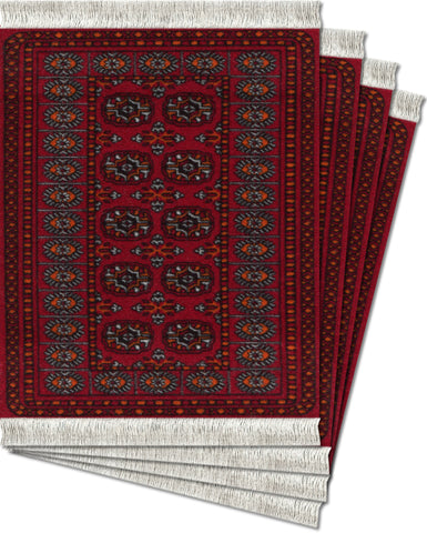 Turkoman Bokhara Ð 4-pc CoasterRug¨ Set - MouseRug - Jules Enchanting Gifts