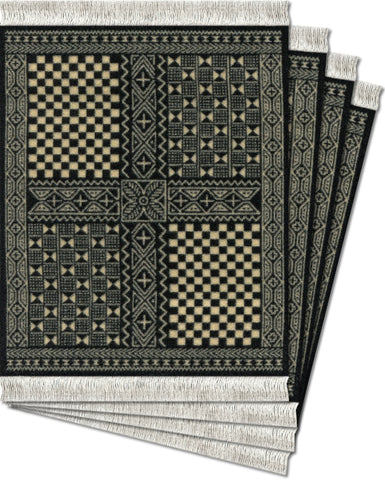 West African B˜g˜lanfini Ð 4-pc CoasterRug¨ Set - MouseRug - Jules Enchanting Gifts