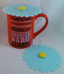 "Aqua Daisy Drink Covers 4"" Set of 2 - Charles Viancin - Jules Enchanting Gifts"
