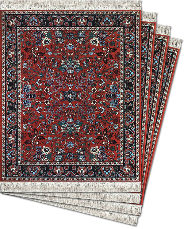 BidJar Deep Red - 4-pc CoasterRug® Set