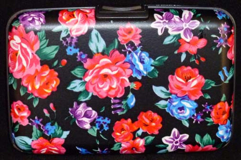 Wallet Floral - Black with Pink Flowers - Fig Design - Jules Enchanting Gifts