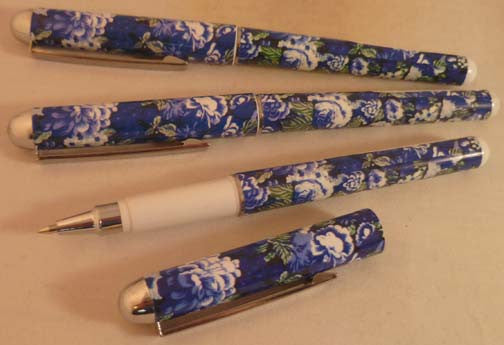 Pretty Tools Ball Point Pen - Black with Blue Flowers - Fig Design - Jules Enchanting Gifts