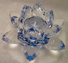 Small Blue Crystal Lotus with 30mm Crystal Ball