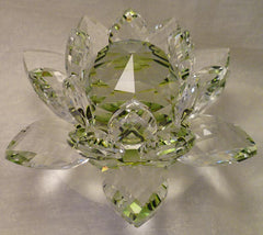 Large Green Crystal Lotus with 50mm Crystal Ball
