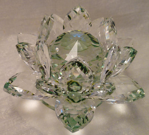 Medium Green Crystal Lotus with 40mm Crystal Ball