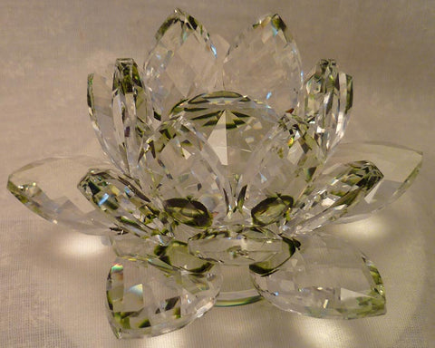 Small Green Crystal Lotus with 30mm Crystal Ball