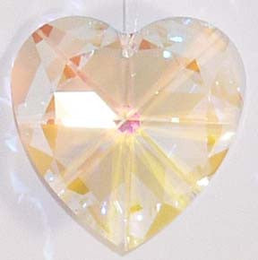 Faceted Heart 40mm Aurora Borealis - Crystals - Jules Enchanting Gifts