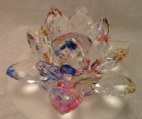 Small Multi-Color Crystal Lotus with 30mm Crystal Ball