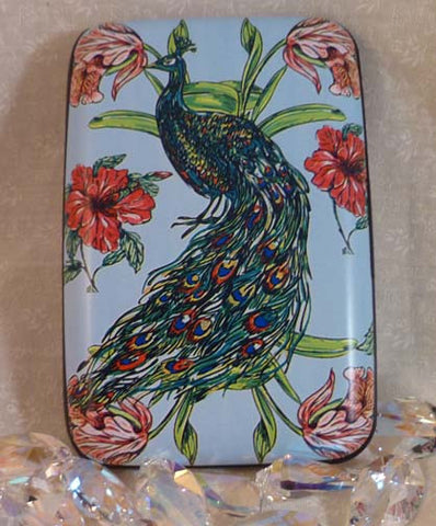 Wallet - Peacock with Hibiscus and Tulips - Fig Design - Jules Enchanting Gifts