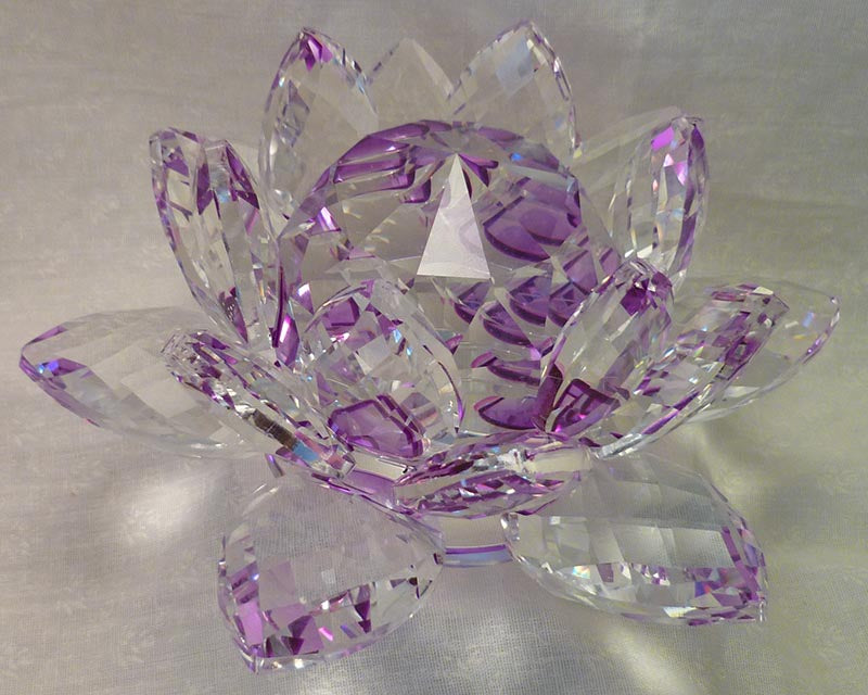 Extra-Large Purple Crystal Lotus with 60mm Crystal Ball
