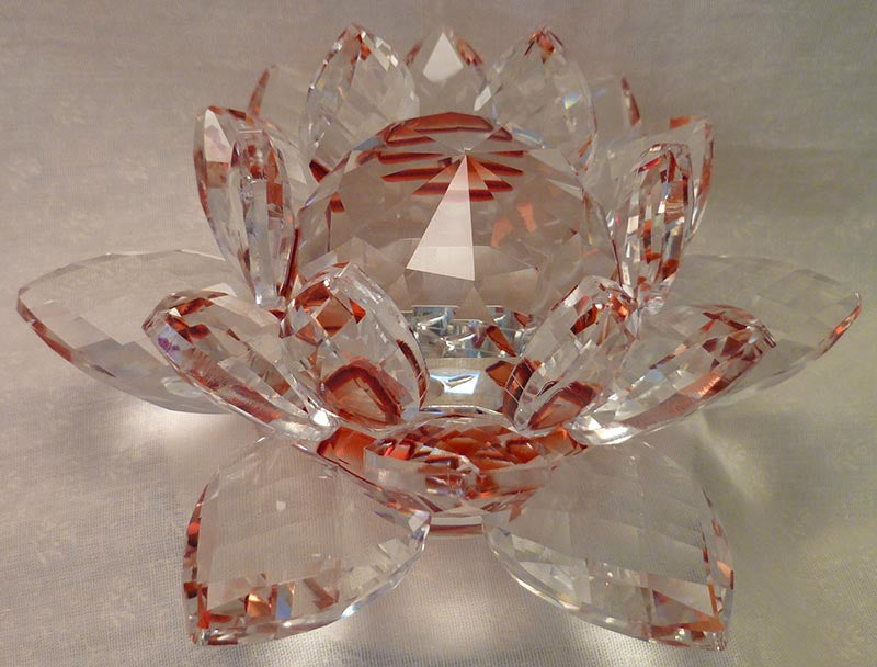 Large Red Crystal Lotus with 50mm Crystal Ball