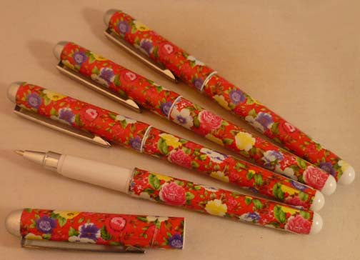 Pretty Tools Ball Point Pen - Red Flowers - Fig Design - Jules Enchanting Gifts