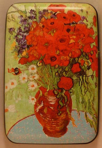 Wallet Fine Art #4 - Red Poppies and Daisies - Fig Design - Jules Enchanting Gifts