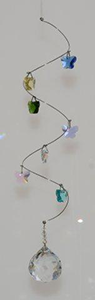Spiral Mobile 7 crystal Butterflies - w/ 30mm Crystal Ball - Oh My Gosh Josh - Jules Enchanting Gifts
