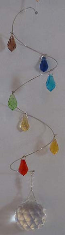 Spiral Mobile Chakra Raindrops - 7 to 9 inches long - Oh My Gosh Josh - Jules Enchanting Gifts