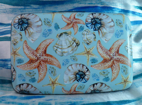 Wallet - Coastal Starfish and Shells on Light Blue - Fig Design - Jules Enchanting Gifts