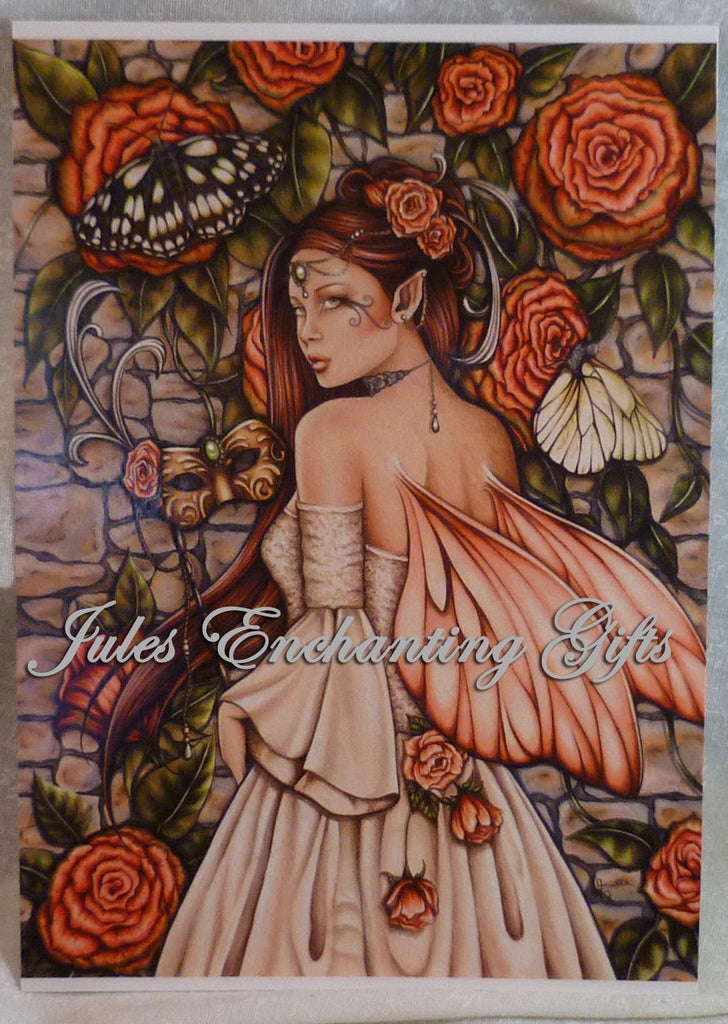 Vintage Rose - 5 x 7 Fairy Art Print - Munro Gifts - Jules Enchanting Gifts