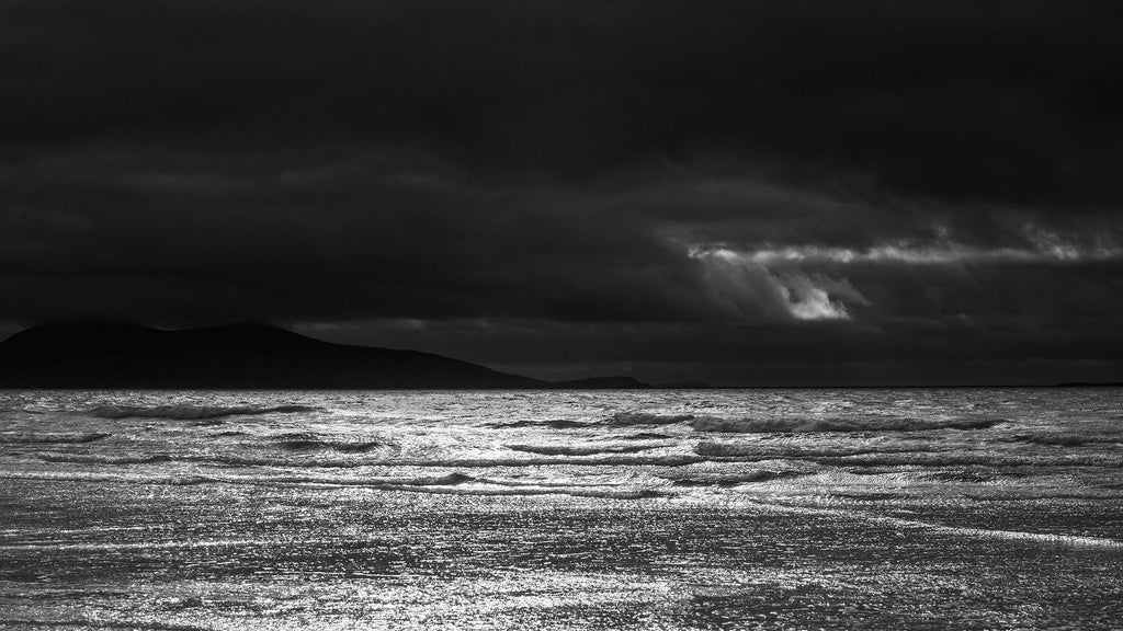 Silver seascape, Outer hebrides, black and white photograph