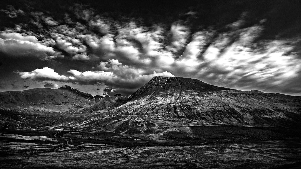 Isle of Skye with dramatic cloud formation, black and white photograph