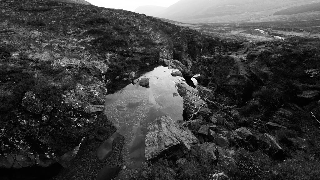 Fairy pools, Isle of Skye, Scotland. Black and White photograph