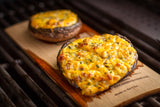 Planked Cheese and Bacon Stuffed Portobellos
