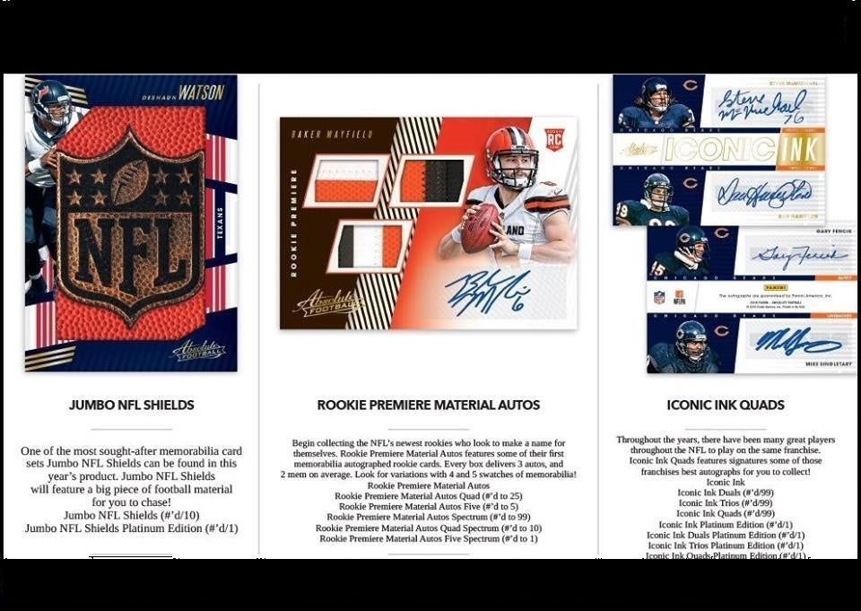 2018 ABSOLUTE FOOTBALL 1/2 CASES #6, #7