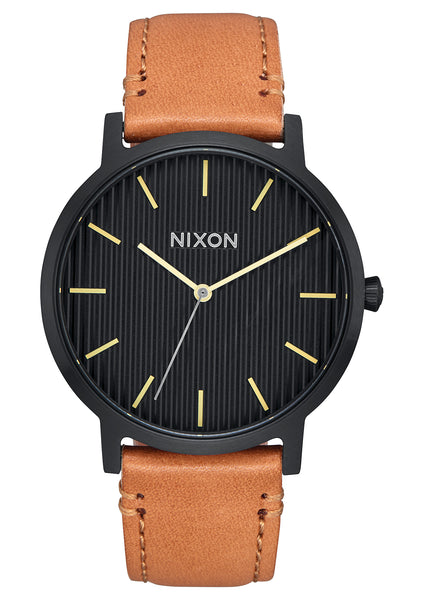 Nixon Porter Leather Black/Stamped/Brown
