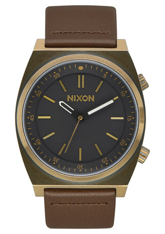 Nixon Brigade Leather Black/Brass/Taupe