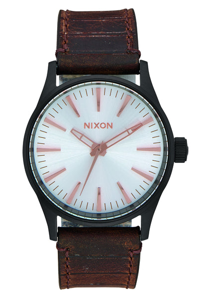 Nixon Sentry 38 Leather Black/Silver/Brown