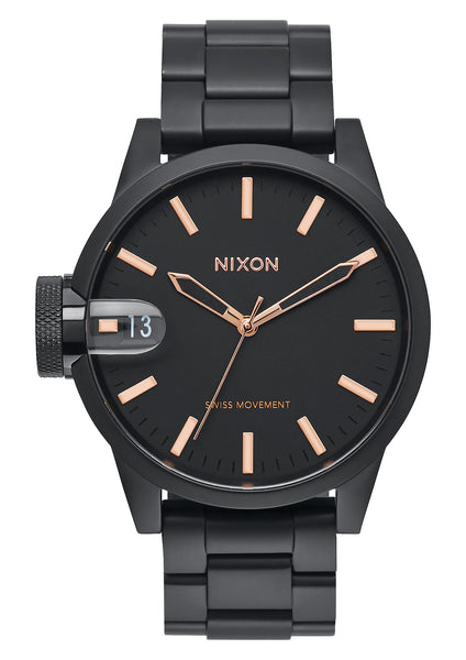 Nixon Chronicle 44 All Black/Rose Gold