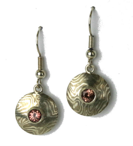 Mokume-gane earrings with Malaya garnets
