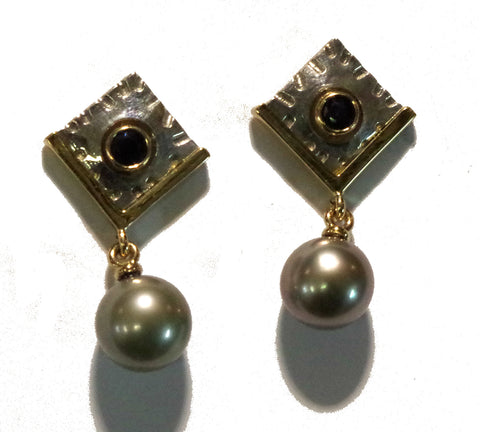Sapphires and Southsea black pearls  gold and sterling silver earrings