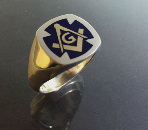 Masonic ring Sterling Silver, 14 Kts gold logo and blue enamel.