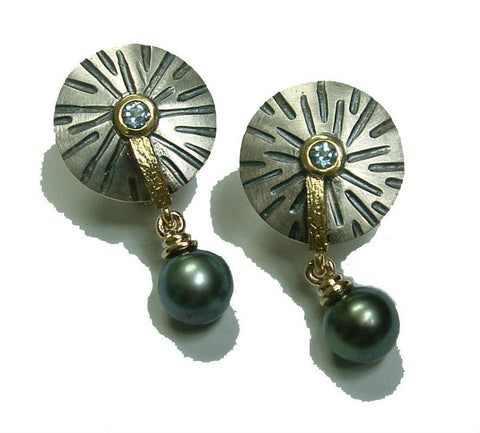 Aquamarines and Southsea black pearls sterling and gold earrings