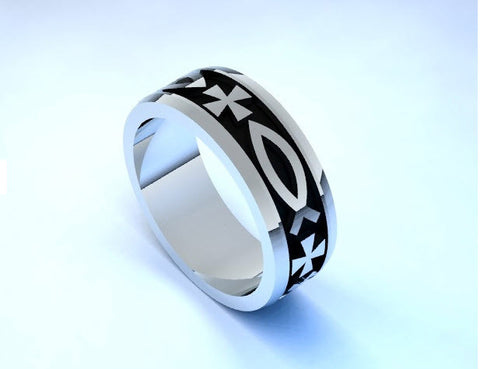 Christian Sterling silver wedding band