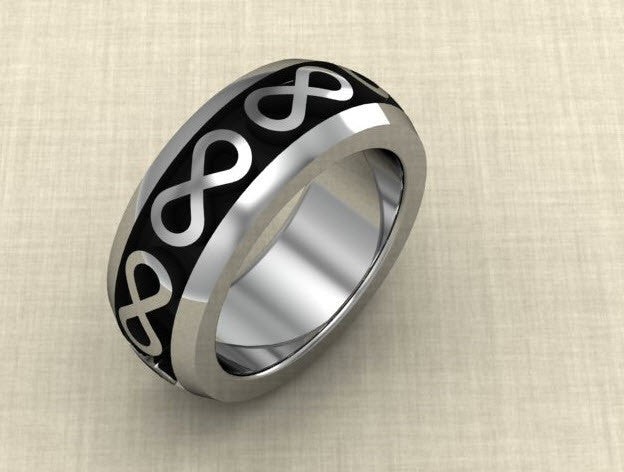 Sterling silver wedding band eternity symbols