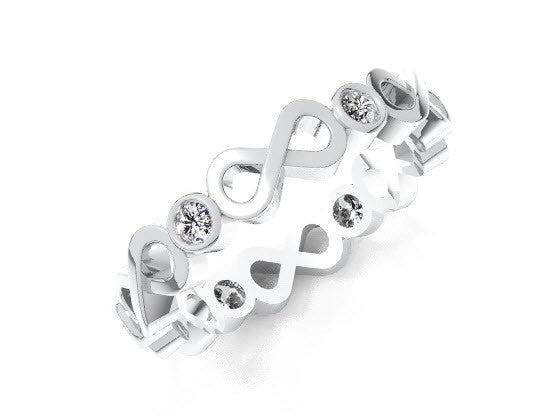 Diamonds and 14KT white gold eternity band