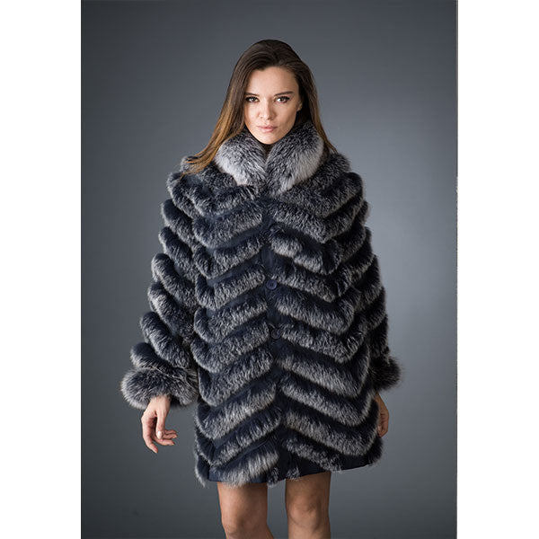 Diomi Navy SnowTop Fur Coat