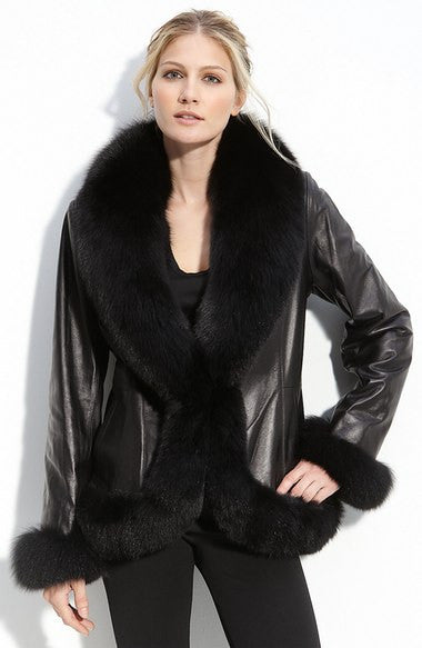 Lambskin Tuxedo Jacket with Fox Fur Trim