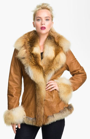Lambskin Leather Coat with Fox Fur Trim